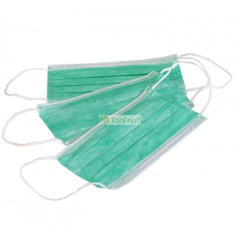 Маска медицинская 3-х слойная, цвет зеленый