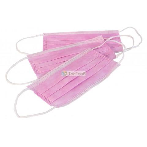 Маска медицинская  3-х слойная, цвет розовый